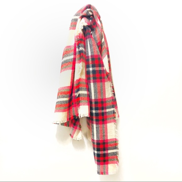 Express Accessories - Express Red & Pink Plaid Scarf